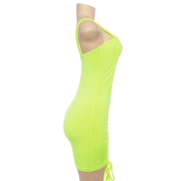 Hip Tight Drawstring Sling Strappy neon mini dress