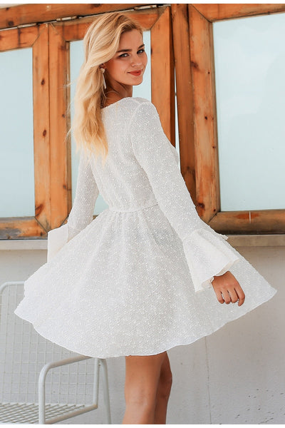 Lace up Loose Short white dress