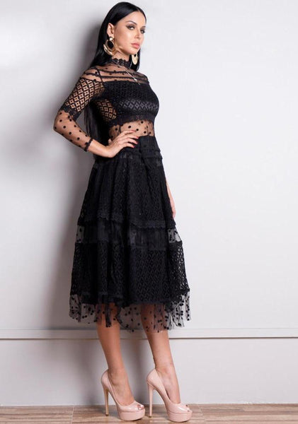 High Neck Long Sleeve Dots See Through Lace Dress