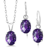 2.25 Ct Oval Checkerboard Natural Purple Amethyst 925 Sterling Silver Jewellery Set