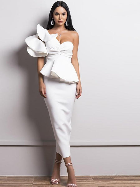 Ruffles Backless Bodycon Off Shoulder Bandage Elegant party Dress