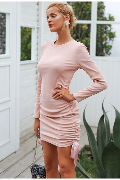 Drawstring side pink knitted sweater dress