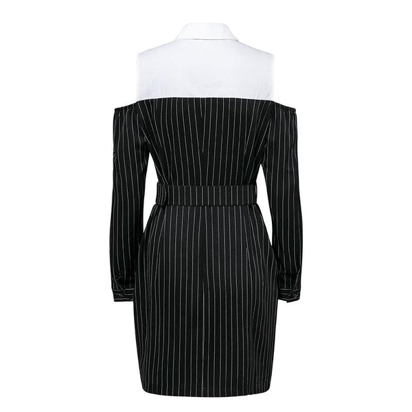 Elegant fake two piece stripe Office sash long sleeve mini blazer dress