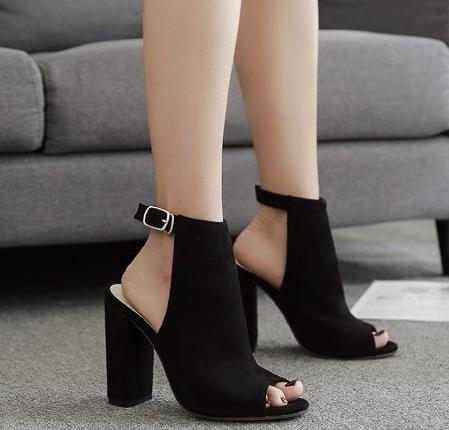 Soft leather Open Toe Square Thick Heel buckle strap black heels
