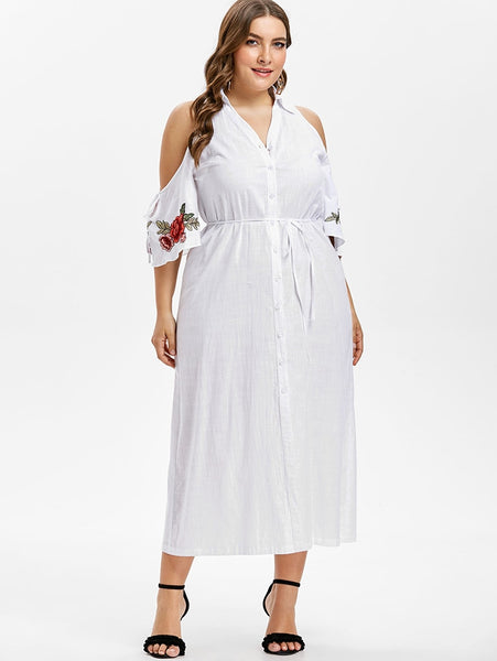 Plus Size Floral Embroidery Cold Shoulder White Maxi Long Shirt Dress
