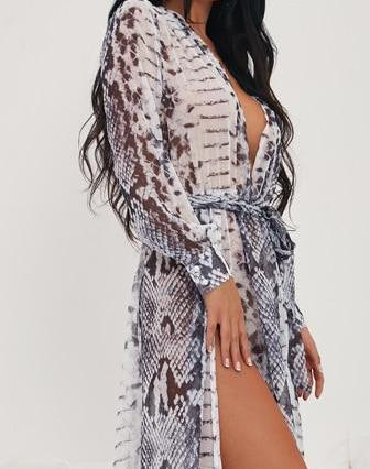 Deep V Long Sleeve Two Split Maxi Beachwear Dress With Headband