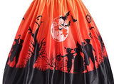 Plus Size Halloween Print Off the Shoulder Retro Swing Party Dress