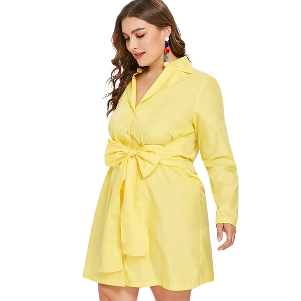 Plus Size Bow Loose Long Sleeve Shirt Dress