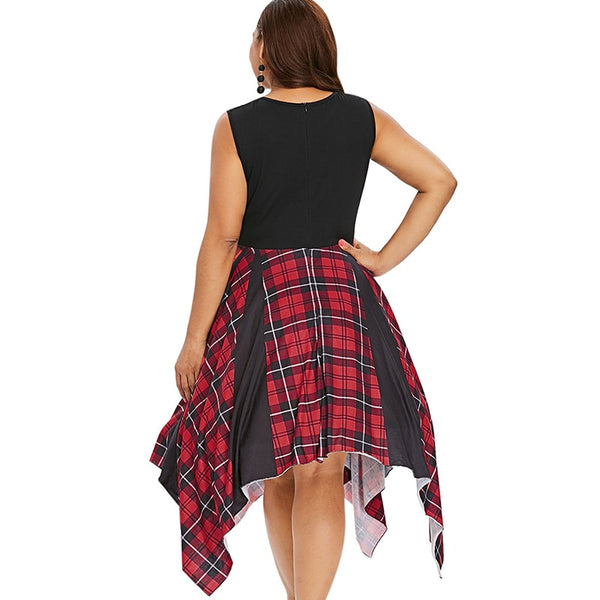 Plus Size Lace Plaid Asymmetrical Sleeveless midi Dress
