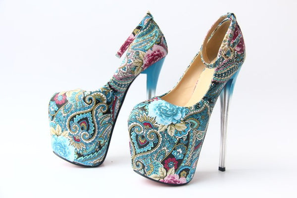 20cm Ultra High Heels  With Flowers printed ankle strap Turquoise pumps