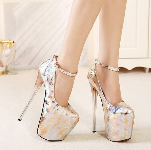 Super High-heeled platform fashion golden ankle strap pumps