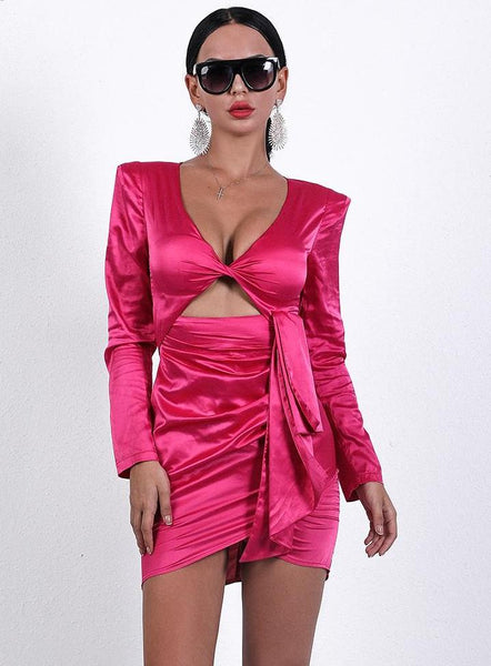 Kardashian style Lace-Up Deep V Long Sleeve satin party Dress