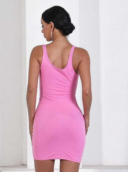 Front hollow out bodycon mini dress