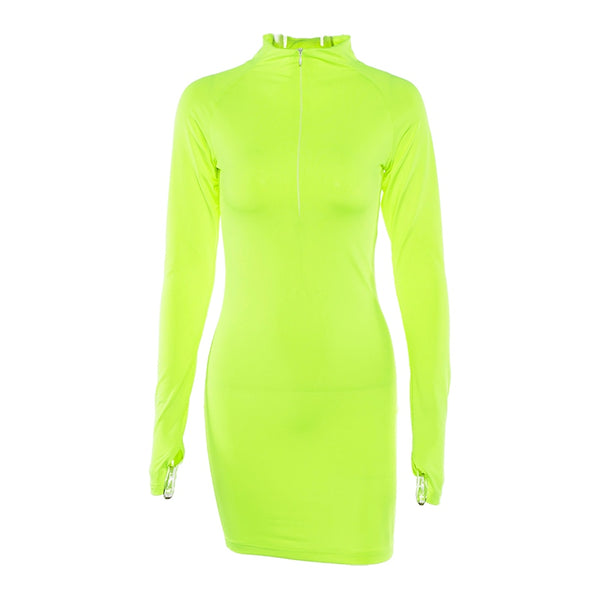 Long Sleeve Zip Collar Straight fluorescent Mini Dress