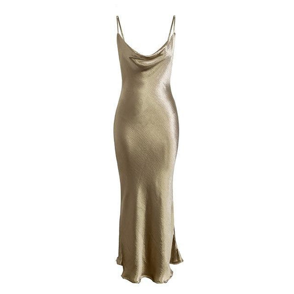 Strap backless satin lace up Gold elegant long party dress