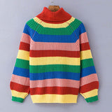 Rainbow turtleneck striped oversized sweater