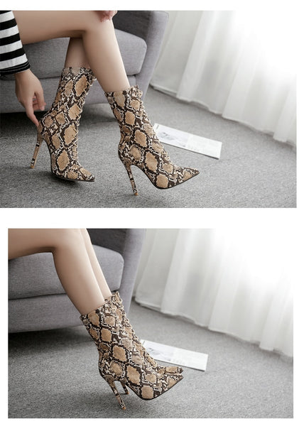 Lace Up Snake Print Ankle Boots