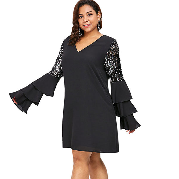 Plus Size Shiny Ruffle Bell Flare Sleeve short Party Dress