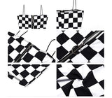 Zipper Black White Lattice checkerboard short Jumpsuit