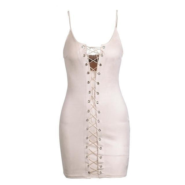 Criss cross lace up suede bodycon pink short dress