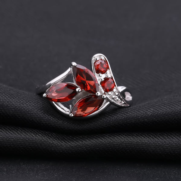 2.38Ct Marquise Natural Red Garnet 925 Sterling Silver Leaf Shape Ring