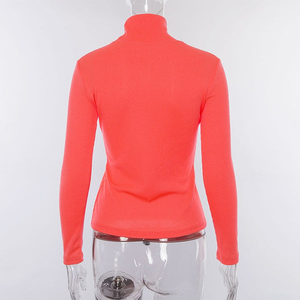 Turtleneck Ribbed Long Sleeve neon Pullover
