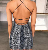 Backless Cross Bandage snake print Bodycon mini Dress