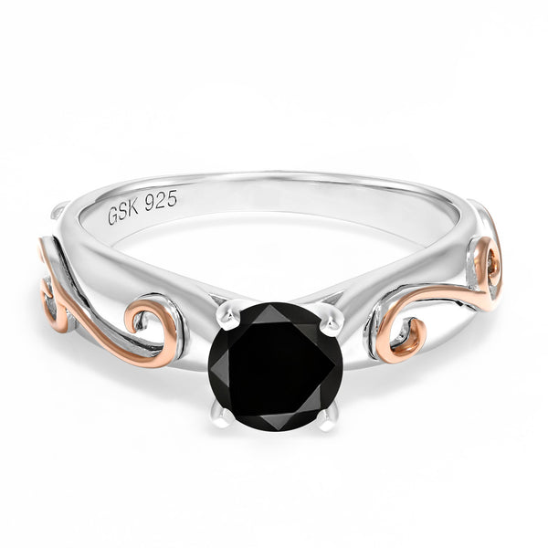 1.10 Ct Round Black Diamond 925 Sterling Silver Ring