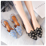 Star Rivet Pointed toe blue mules