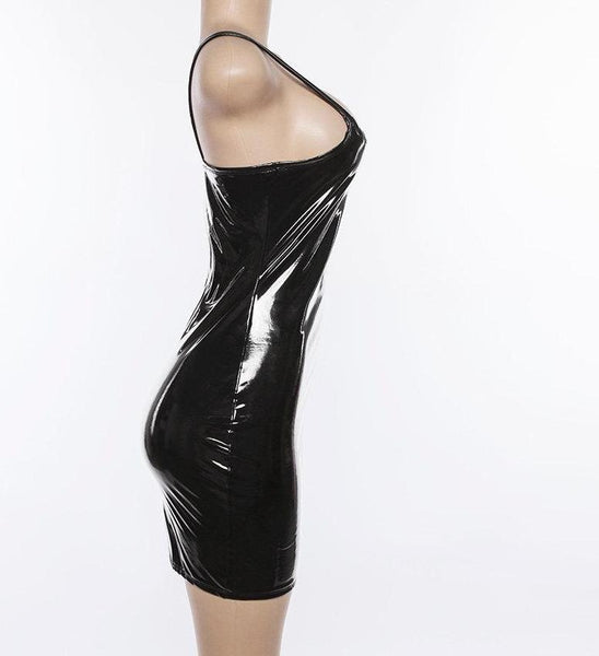 Slim shiny faux leather celebrity mini dress