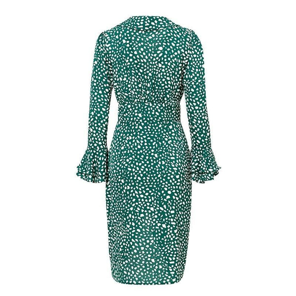 Vintage polka dot green midi dress