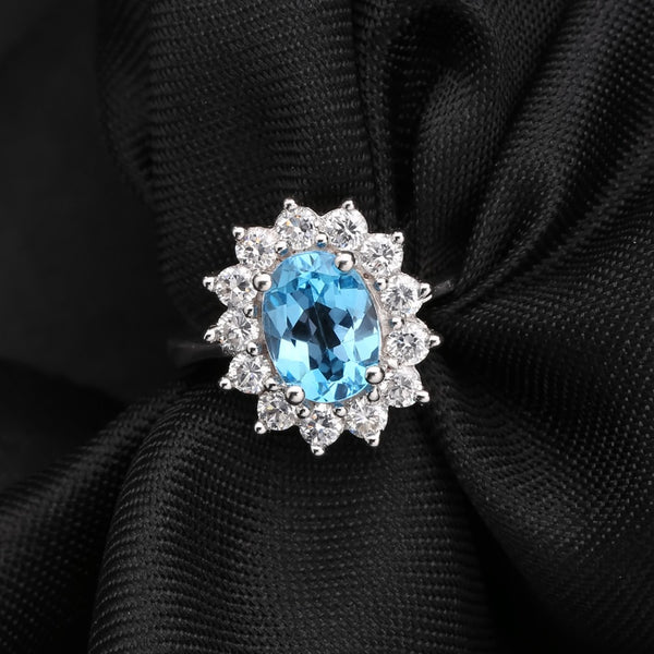 1.58Ct Natural Swiss Blue Topaz 925 Sterling Silver Vintage Ring