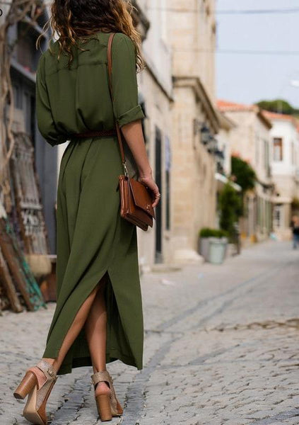 Casual buttons split shirt office chiffon long dress