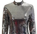 O Neck Long Sleeve Sequin celebrity Mini Party Dress