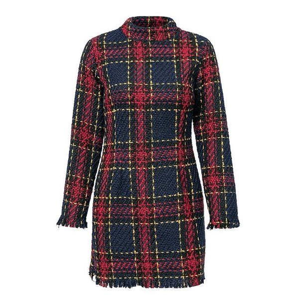 Long sleeve stand collar Elegant Office plaid short dress