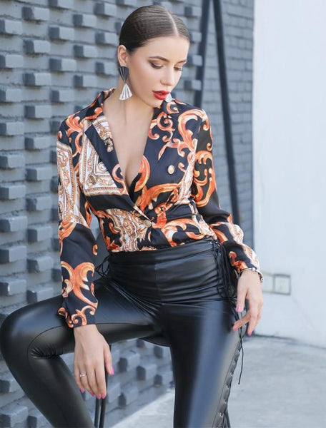 Long Sleeve Single Breasted Printed thin blazer