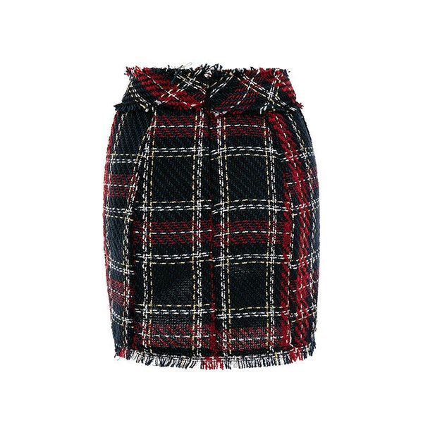 Tweed plaid High waist button mini Office skirt