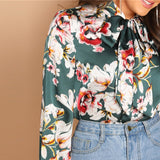 Tie Neck Floral Stand Collar Long Sleeve satin Blouse