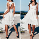 Ruffles hollow out white cotton dress