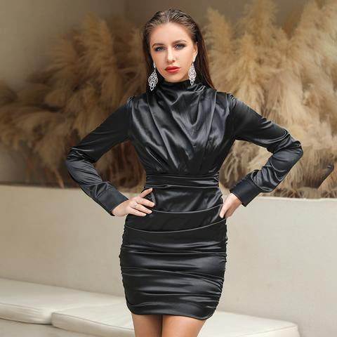 Long Sleeve elegant satin black party dress