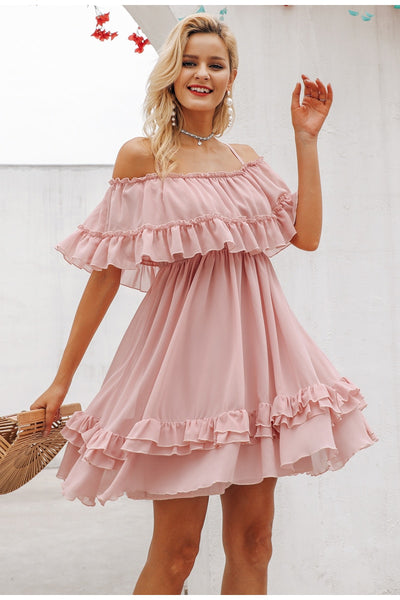 Ruffles chiffon pink short dress
