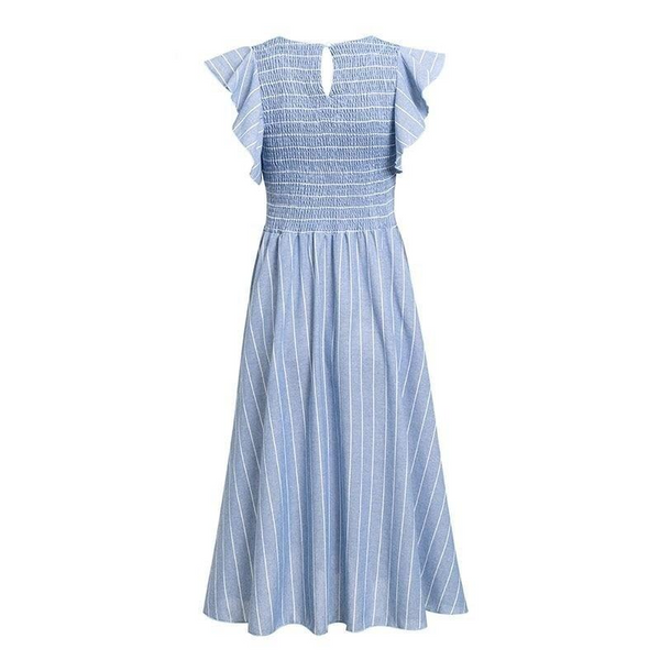 Stripped ruffles blue midi dress