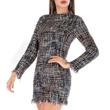 Elegant plaid tweed long sleeve elegant dress