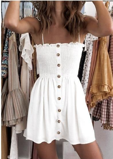 Button straps short white dress (in 4 colours)