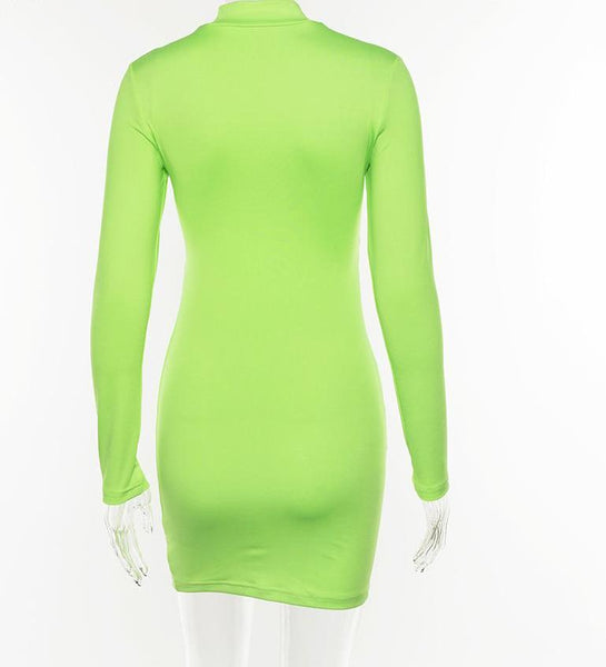 Turtleneck Long Sleeve Hollow Out neon Sheath Dress