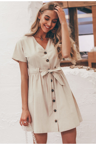 Button short sleeve Beige short cotton dress