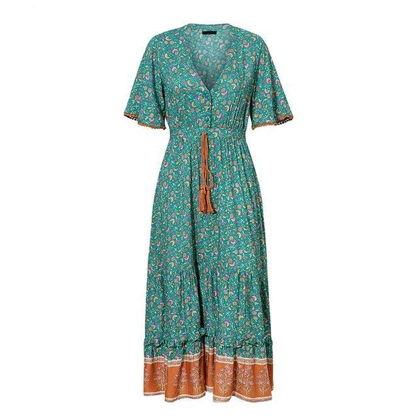 Bohemian floral print cotton green maxi dress