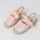 Lace Ankle Strap Flat Espadrille pink Sandals