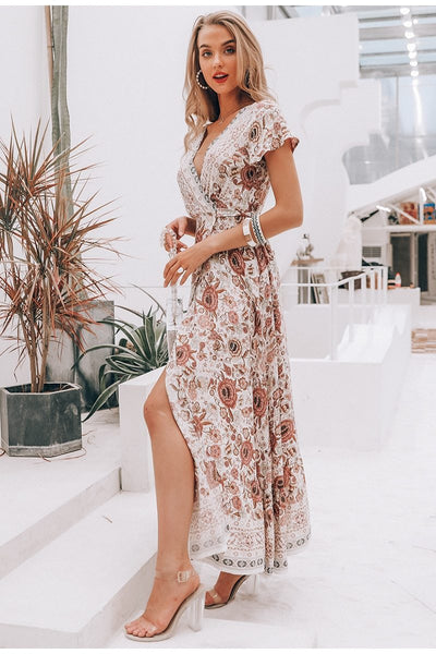 Vintage floral print split sash long beige dress
