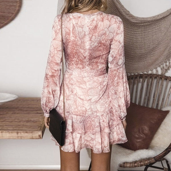 Long sleeve chiffon ruffles white pink short dress